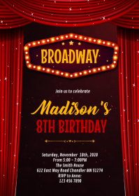Broadway Game show party invitation A6 template