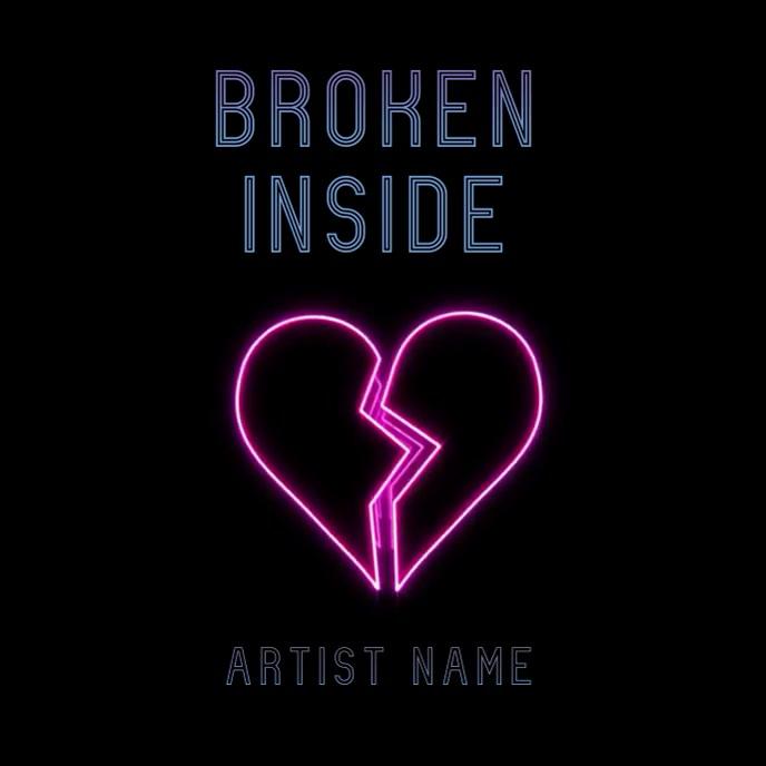 Broken Heart neon album art video Ikhava ye-Albhamu template