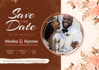 Brown African American Wedding Invitation Pos Pocztówka template