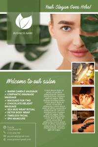 brown and green leaf spa salon massage flyer template