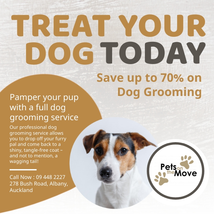 Brown and grey dog grooming services Instagra Instagram Post template