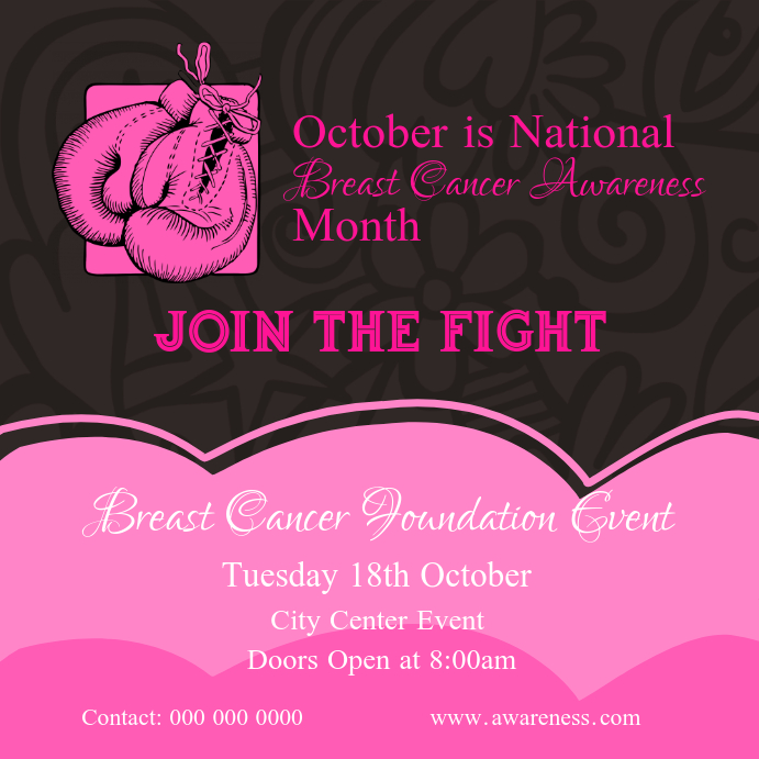 Brown and Pink Breast Cancer Awareness Square Image