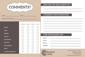 Brown and White Cafe Comment Card Etiqueta template