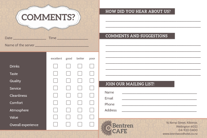 Brown and White Cafe Comment Card Label template