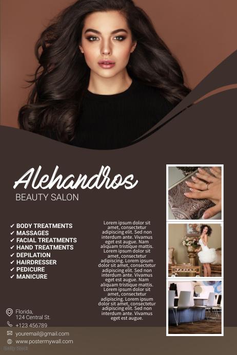 brown beauty salon or hair dresser flyer template