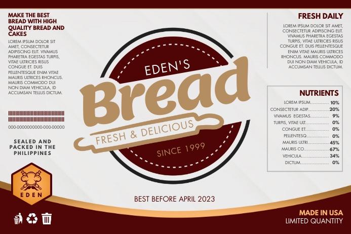 Brown Bread Baking Shop Label Template Etiket