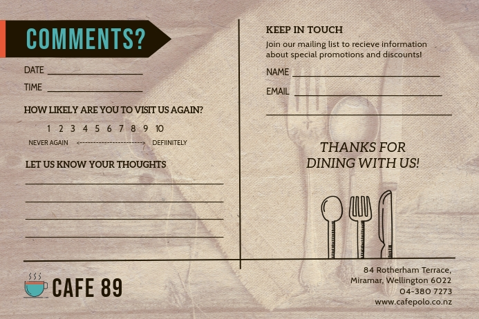 Brown Cafe Comment Card Label template