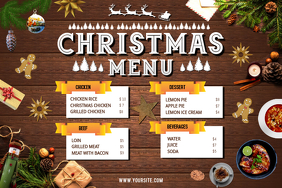 Brown Christmas Menu Landscape Poster