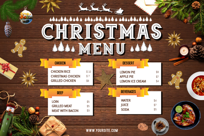 Brown Christmas Menu Landscape Poster Template Postermywall