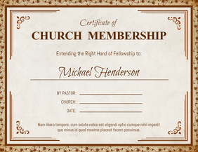 Brown Church Membership Certificate