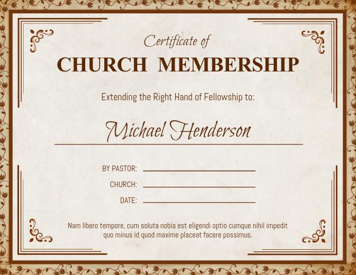 Brown Church Membership Certificate Template Postermywall
