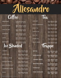 Brown Coffee Wallboard Menu Template
