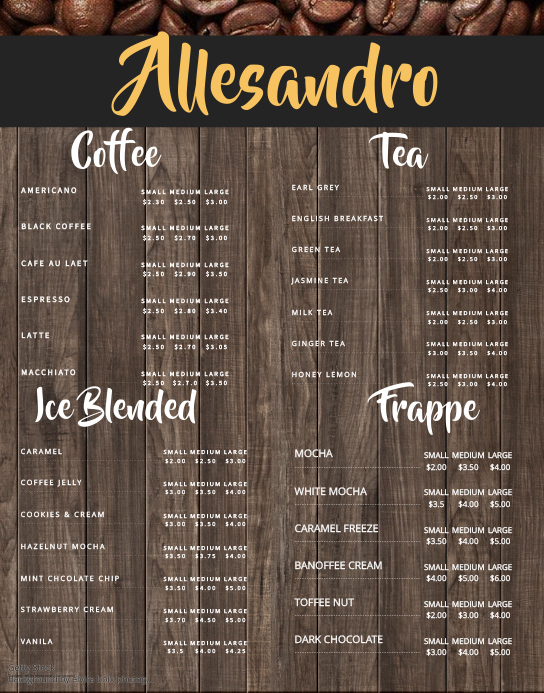 Coffee price list template gallery template design ideas for Coffee price list template