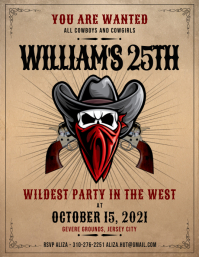 Brown cowboy party invite flyer Volante (Carta US) template