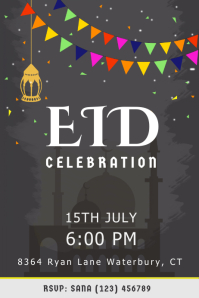 Brown Eid Celebration Poster Template