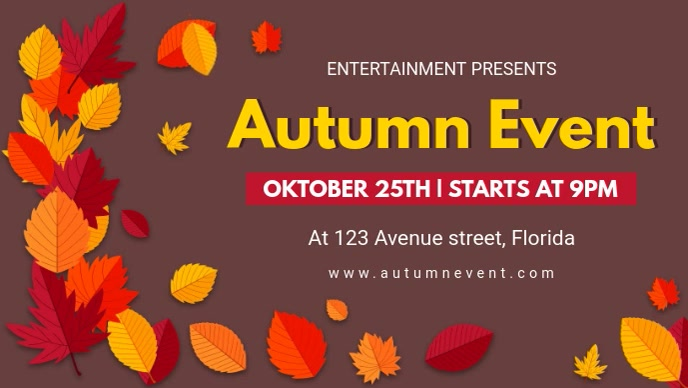 Brown Fall Event Facebook Cover Video