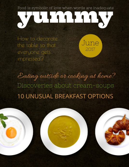 Brown Food Magazine Cover Template Ulotka (US Letter)