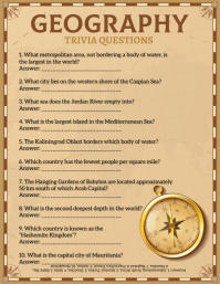 Brown Geography Trivia Answer Sheet Flyer Tem template