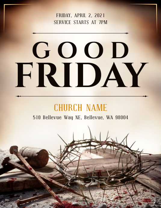 Brown Good Friday Flyer Pamflet (Letter AS) template