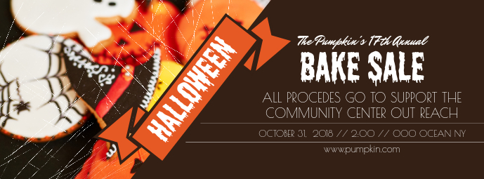 Brown Halloween Bake Sale Facebook Cover template