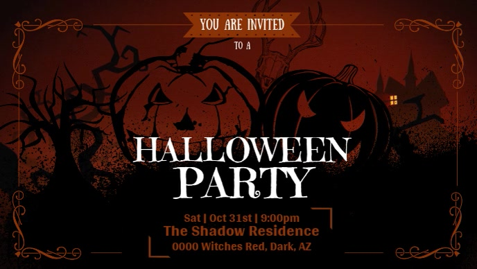Brown Halloween Party Facebook Cover Video