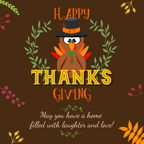 Brown Happy Thanksgiving Wish Instagram Image