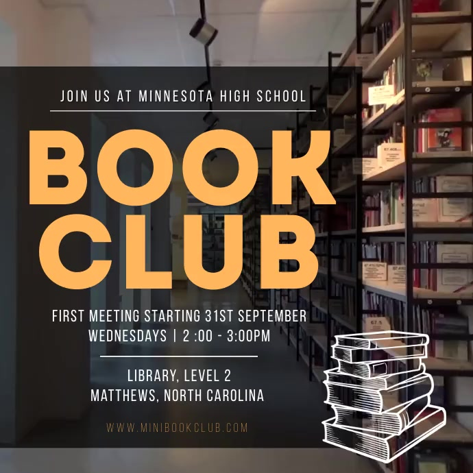 Brown high school book club Instagram video Cuadrado (1:1) template