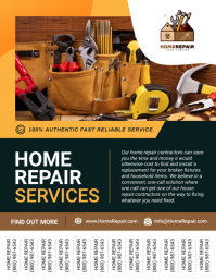 Brown Home Repair Service Tear Off Flyer Pamflet (Letter AS) template
