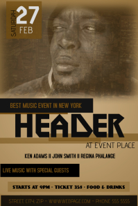 brown music party flyer template