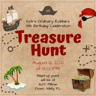 Brown paper treasure hunt design Post Instagram template