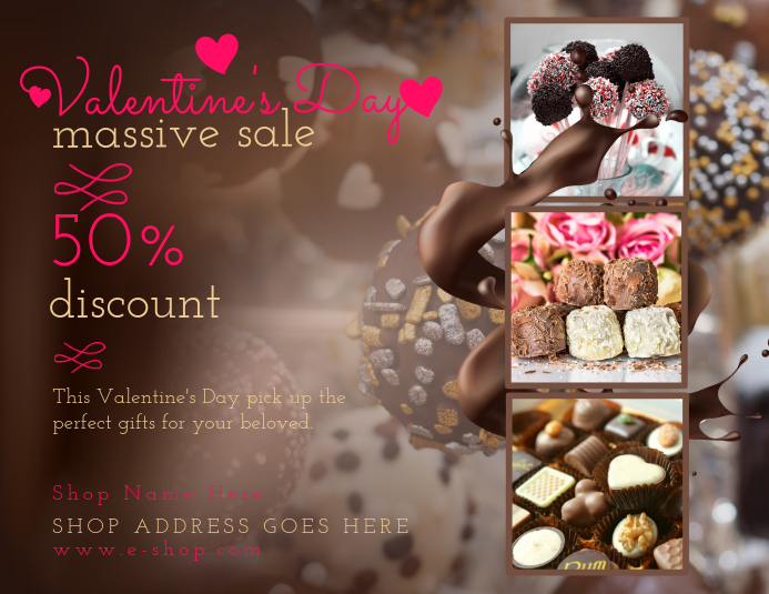 Brown Valentines Sale Flyer Template