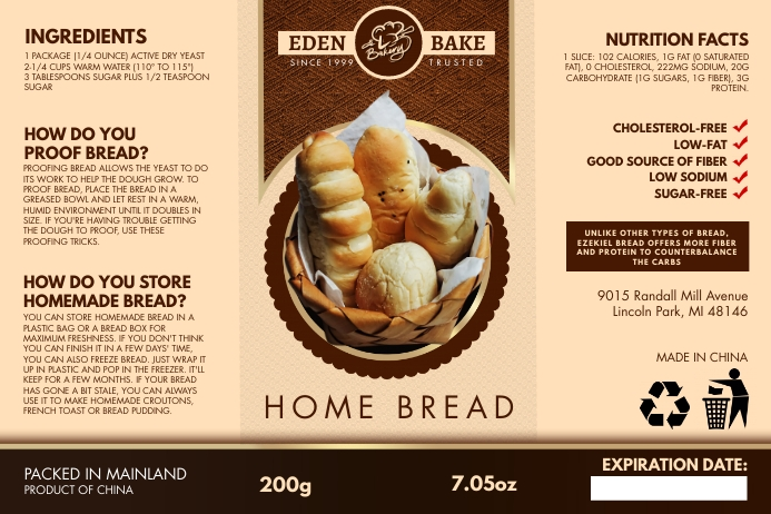 Brown Wheat Bread Packing Label Template Etiket