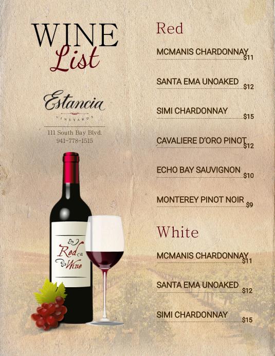 Brown wine flyer menu template