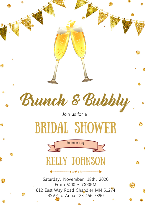 Brunch and bubbly party invitation A6 template