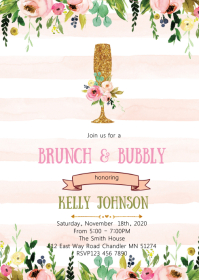 Brunch and bubbly shower party invitation A6 template