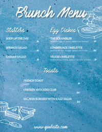 Brunch breakfast blue menu flyer card