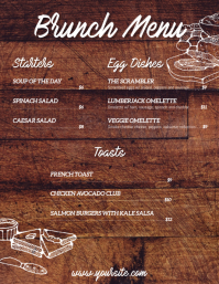 Brunch breakfast wooden table menu flyer card template