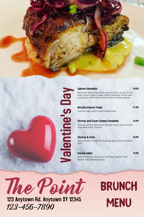 Brunch Menu Valentine's Day