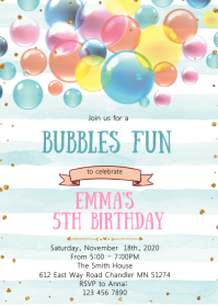 Bubble fun birthday invitation A6 template
