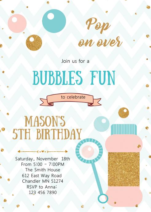 Bubble fun birthday invitation A6 template