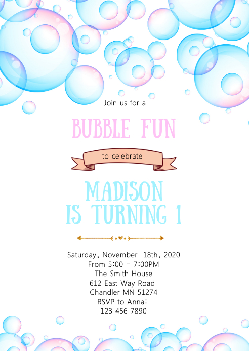 Bubble fun birthday party invitation