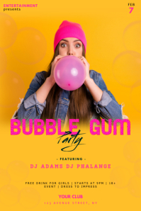 Bubble Gum Party Flyer Template