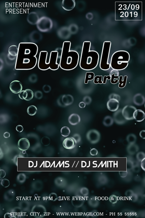 Bubble party night flyer template