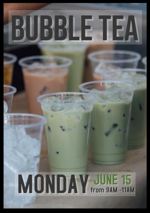Bubble tea bar boba poster flyer