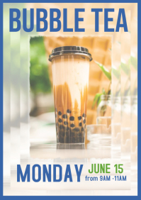 Bubble tea boba poster flyer