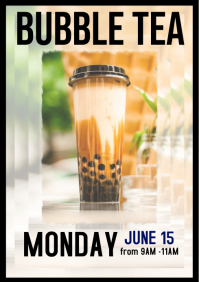 Bubble tea flyer fundraiser poster A4 template