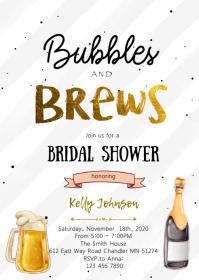 Bubbles and brew bridal shower invitation