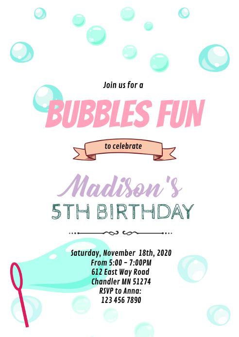 Bubbles fun birthday invitation