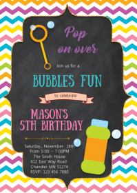 Bubbles fun birthday invitation A6 template