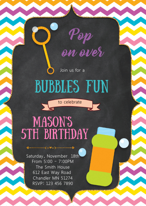 Bubbles fun birthday invitation